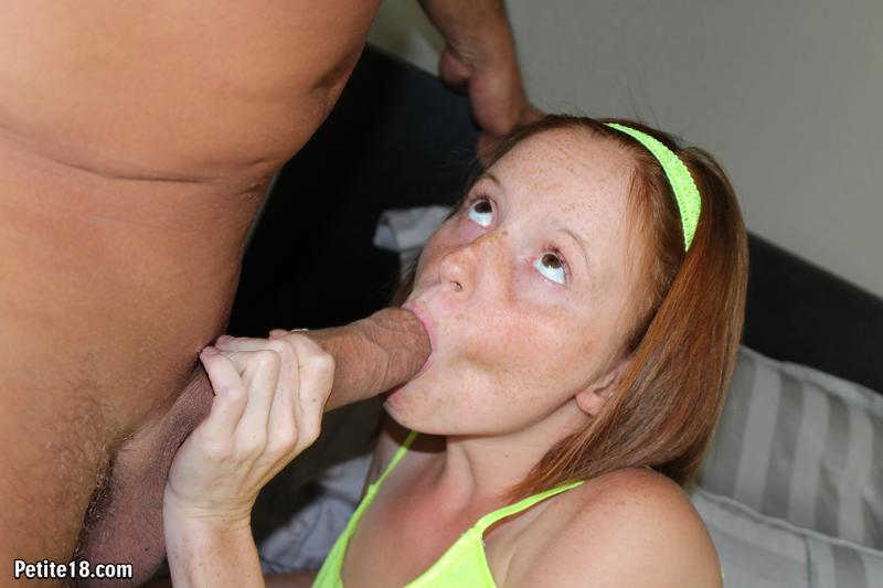 Tiny Redhead Teen Sucks And Rides A Massive Cock Until She
